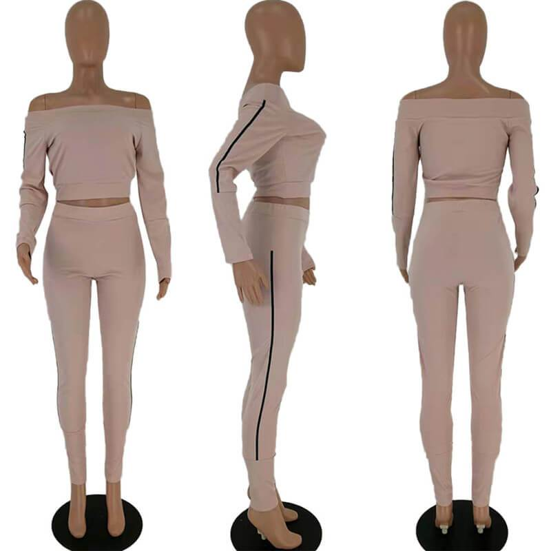 Two Piece Outfits - Pink Color  Model view