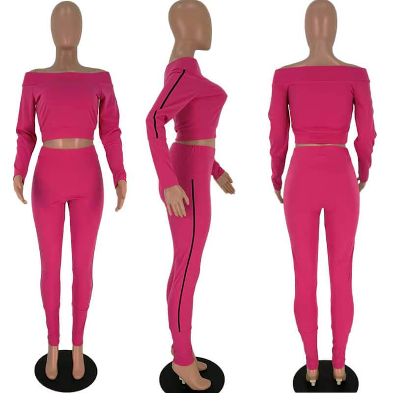 Two Piece Outfits - red Color  Model view