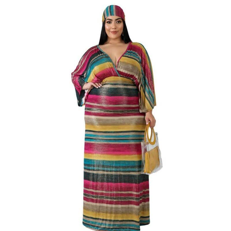 Oversized Tie Long Dress - strip color