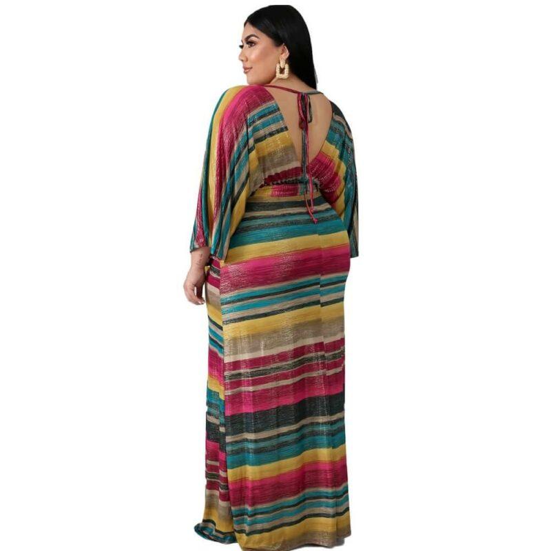 Oversized Tie Long Dress - strip side