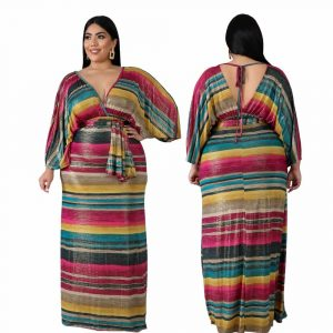 Oversized Tie Long Dress - strip main picture