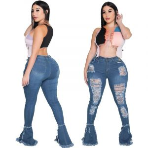 Plus Size Distressed Ripped Jeans - main picture