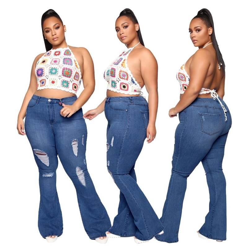 Plus Size Flare Jeans Tall - dark blue color