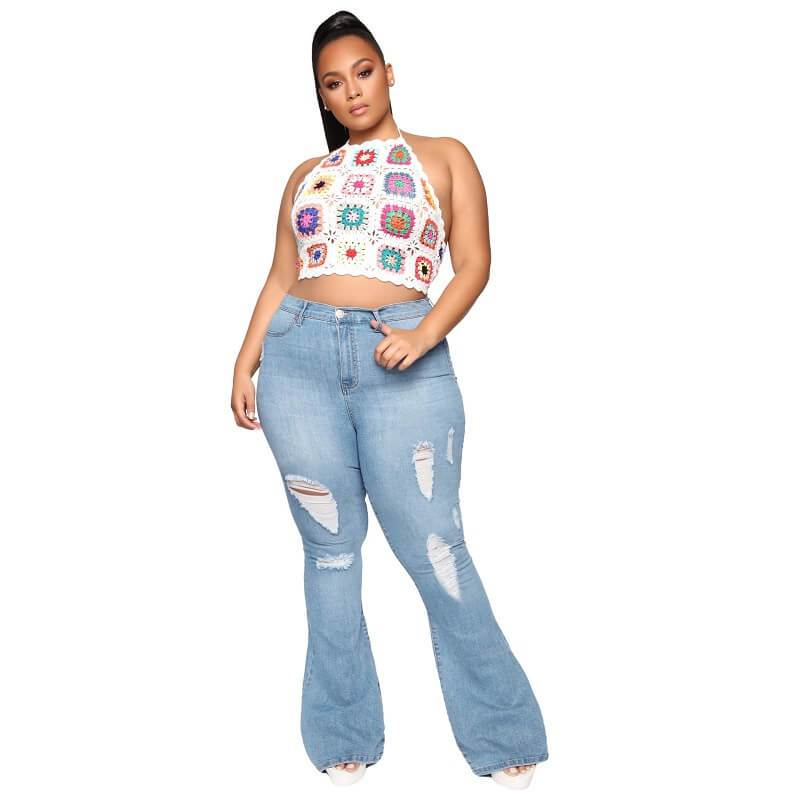 Plus Size Flare Jeans Tall - light blue positive