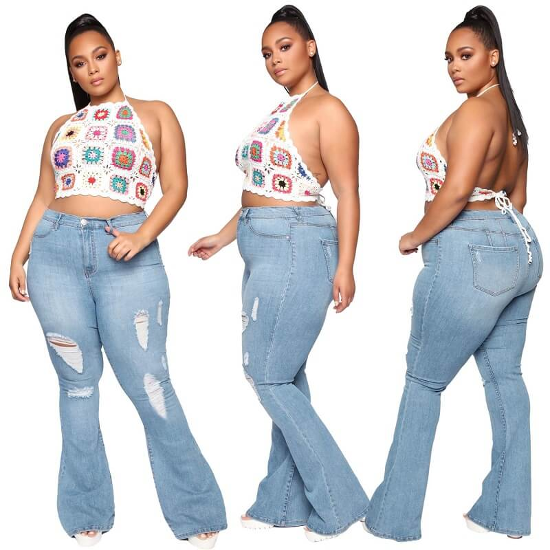 Plus Size Flare Jeans Tall - light blue color
