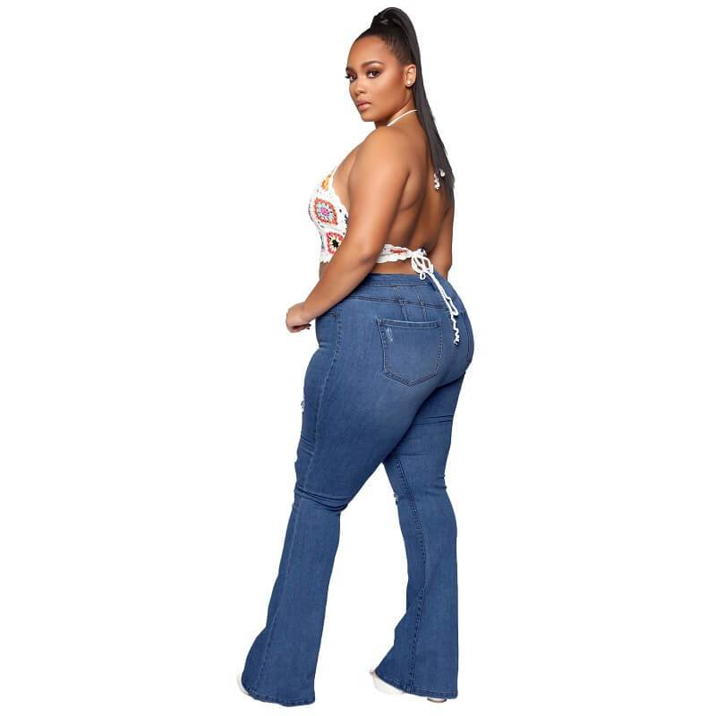 Plus Size Flare Jeans Tall - dark blue side
