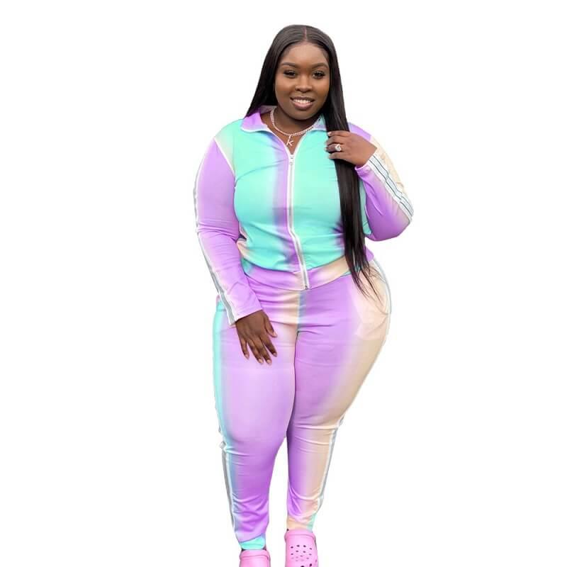 Plus Size Gradient Sports Suit - purple color