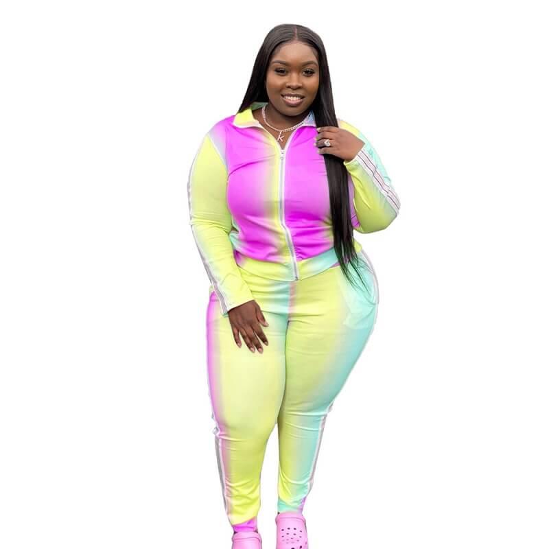 Plus Size Gradient Sports Suit - yellow color