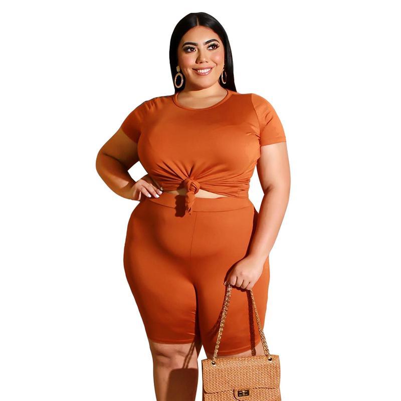 Plus Size Two Piece Biker Short Set - orange color