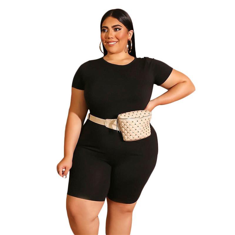 Plus Size Two Piece Biker Short Set - black color