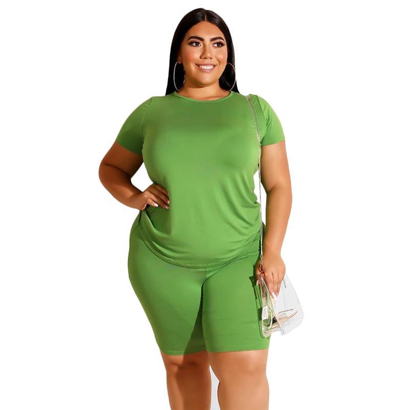 Plus Size Two Piece Biker Short Set - green  color