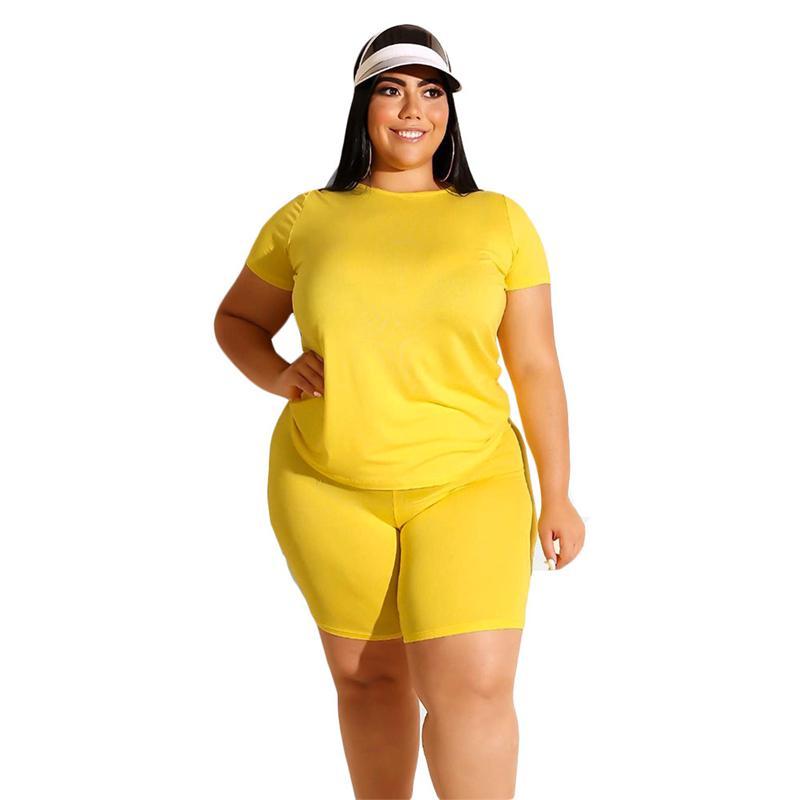 Plus Size Two Piece Biker Short Set - yellow  color