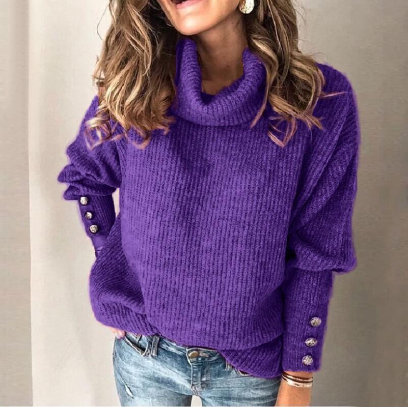 Plus Size Sweater Dress - purple color