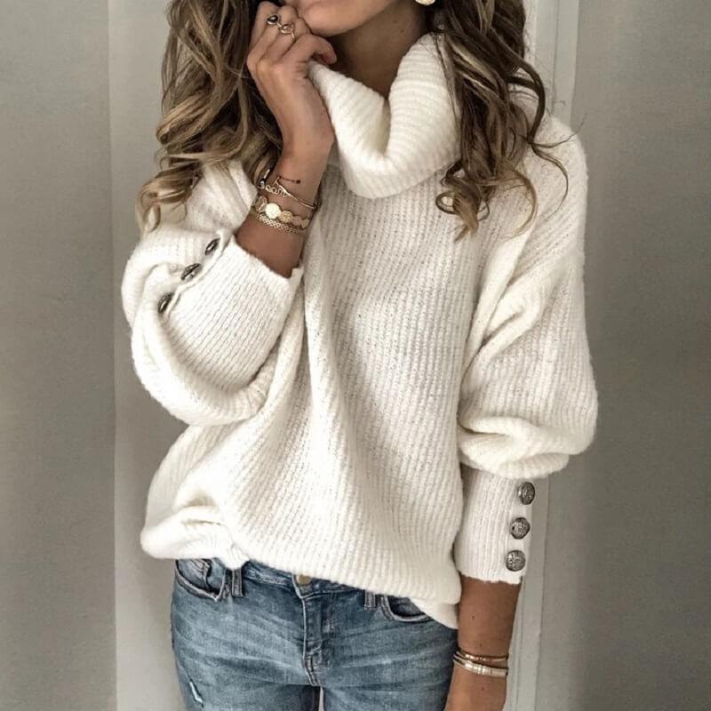 Plus Size Sweater - white color