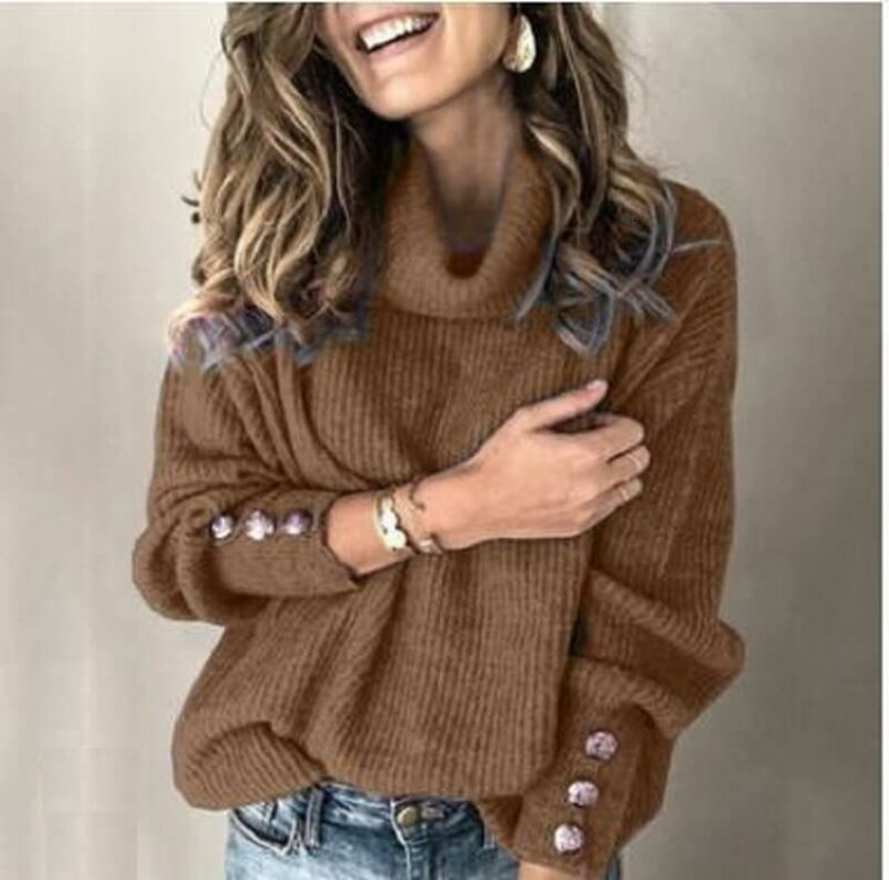 Plus Size Sweater - coffee color