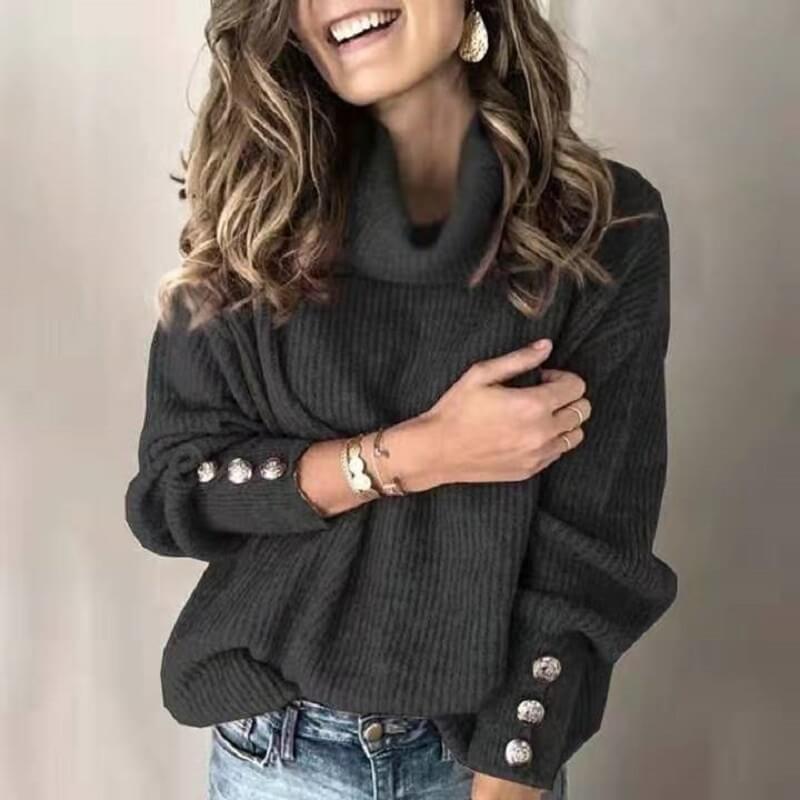 Plus Size Sweater Dress - black color