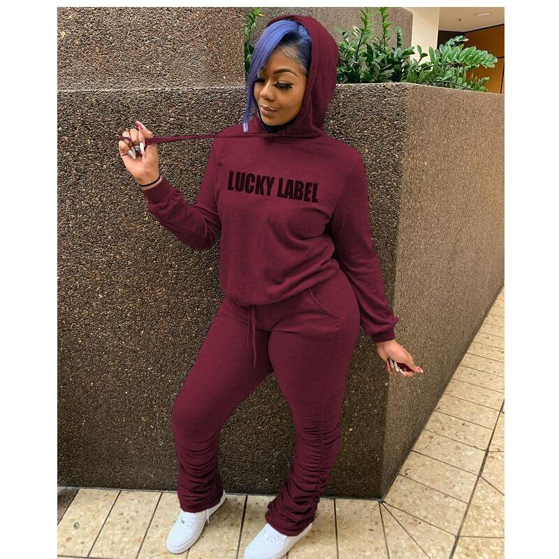 Plus Size Hooded Letter Print Suit - jujube color