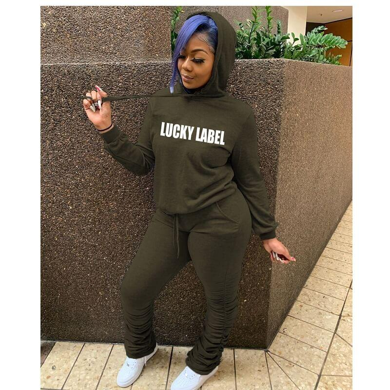 Plus Size Hooded Letter Print Suit - green color