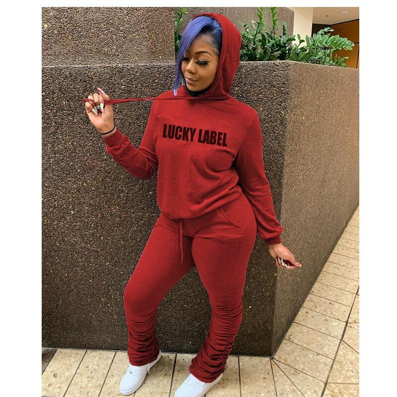 Plus Size Hooded Letter Print Suit - red color