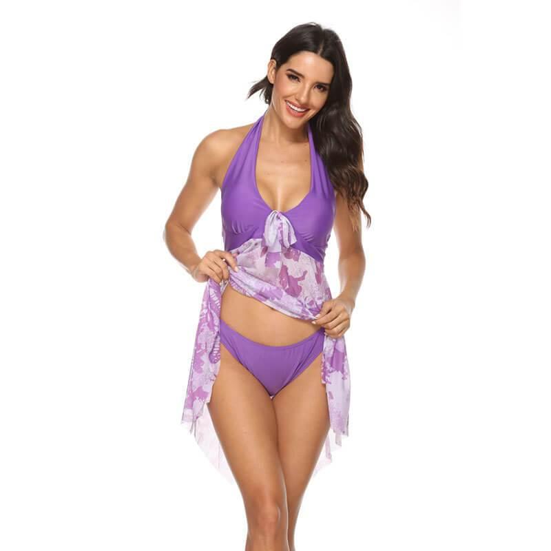Light Blue Plus Size Dress - purple detail image