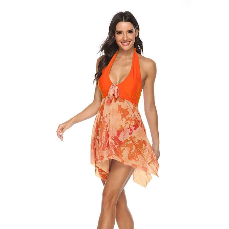 Light Blue Plus Size Dress - orange color