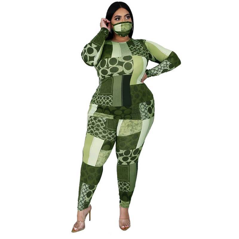 Plus Size Printed Long Sleeve Suit - green color