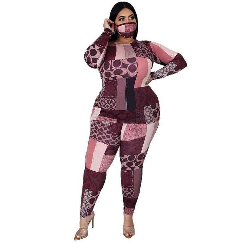 Plus Size Printed Long Sleeve Suit - pink color