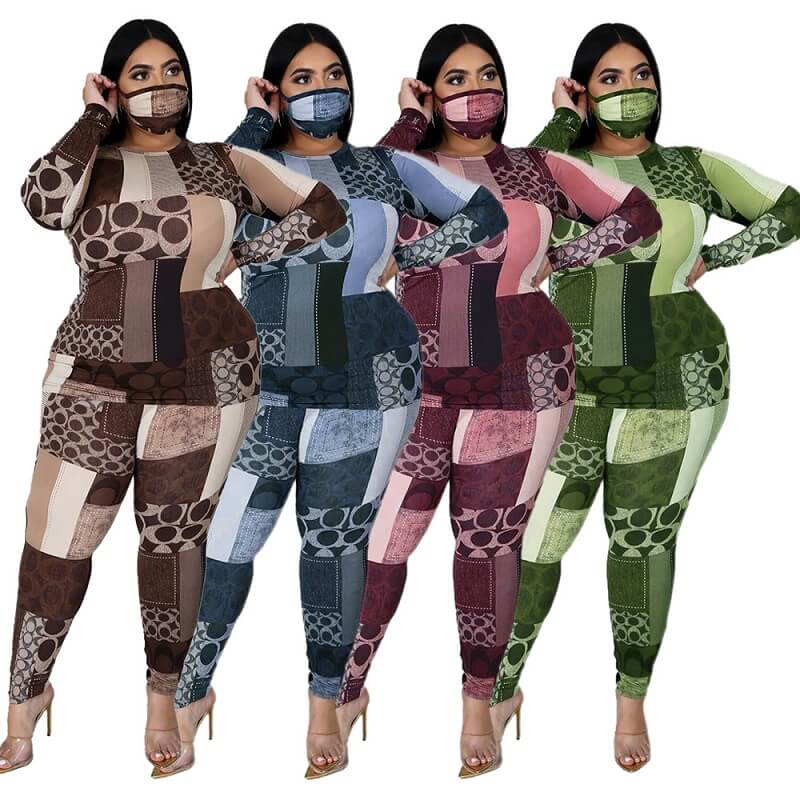 Plus Size Printed Long Sleeve Suit - main picture