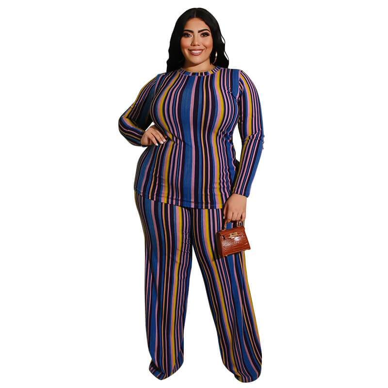 Plus Size Knitted Leisure Suit - blue color