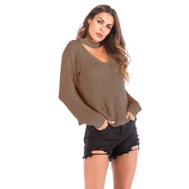 Halter Loose Sweater - brown color