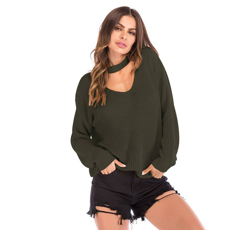 Halter Loose Sweater - military green