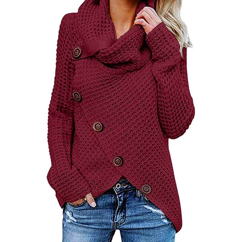 Plus Size Distressed Sweater - burgundy color