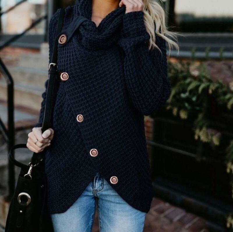 Plus Size Distressed Sweater - navy blue  color