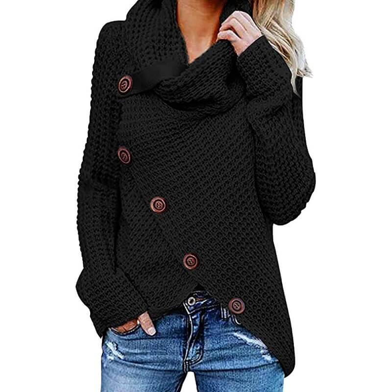 Plus Size Distressed Sweater - black color