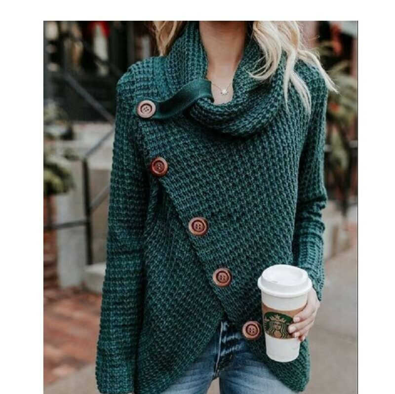 Plus Size Distressed Sweater - dark green color