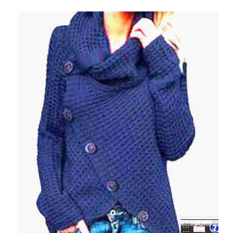 Plus Size Distressed Sweater - cowbuy blue color