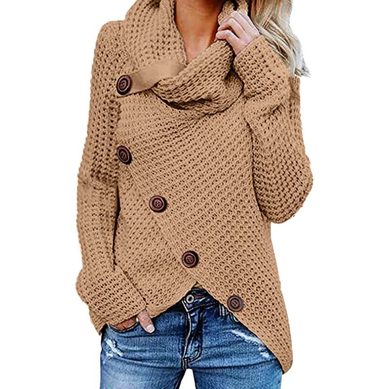 Plus Size Distressed Sweater - khaki color
