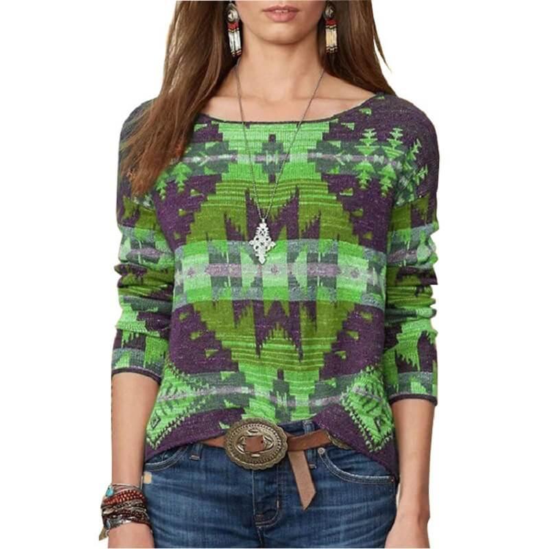 Plus Size Fair Isle Sweater - green color