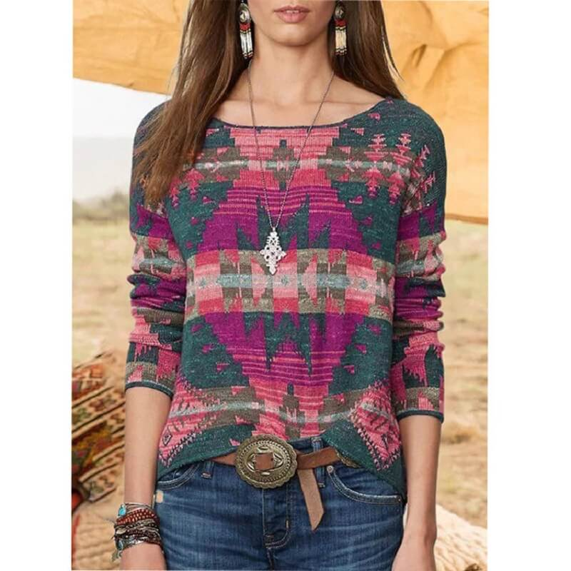 Plus Size Fair Isle Sweater - pink color