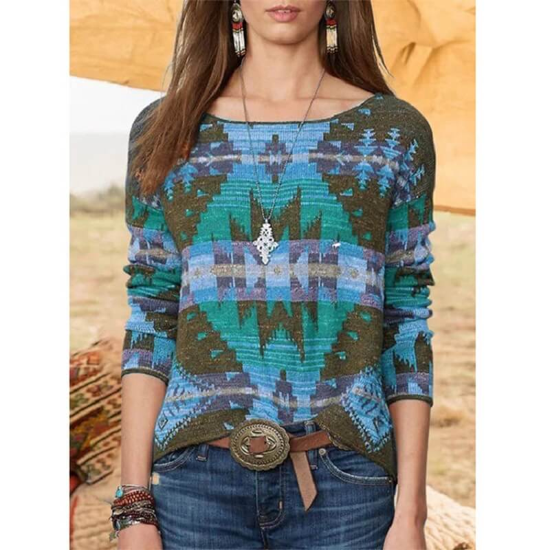 Plus Size Fair Isle Sweater - blue color
