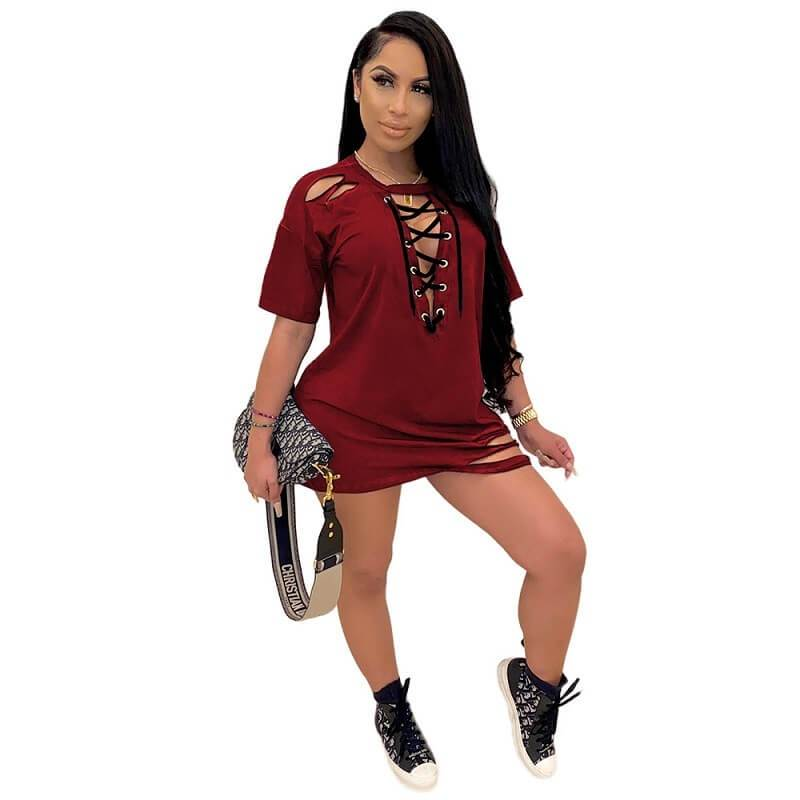 Loose Dress with Lace-up Holes - red positive