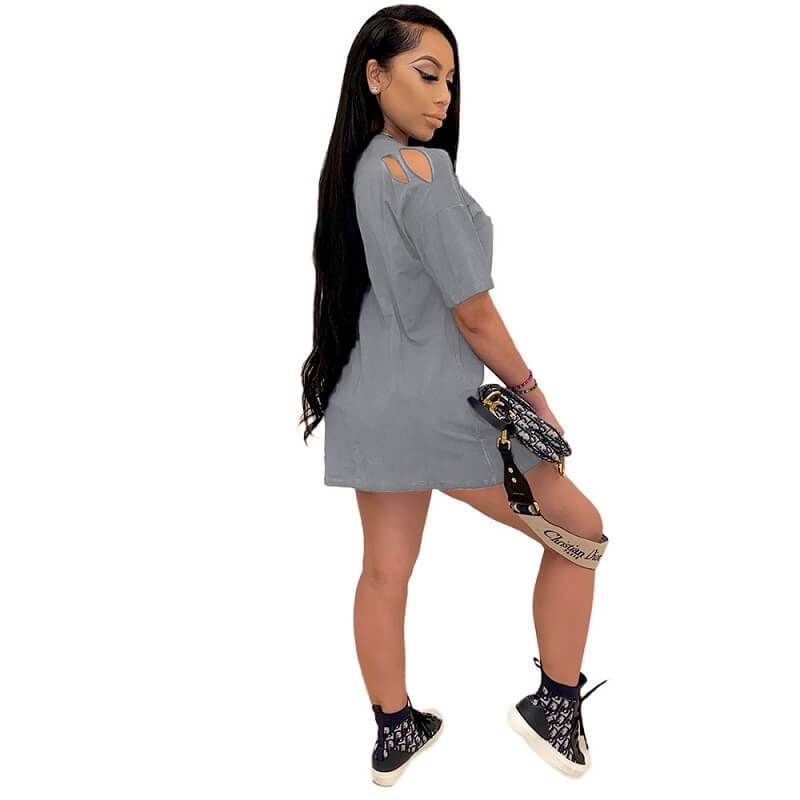 Loose Dress with Lace-up Holes - gray left
