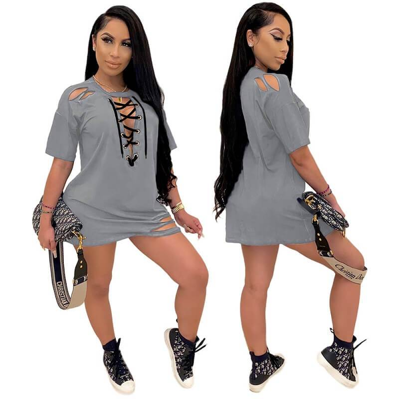 Loose Dress with Lace-up Holes - gray color
