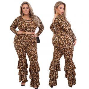 Plus Size Ladies Leopard Print V-Neck Set - coffee main picture
