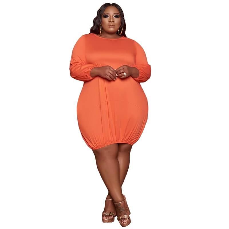 Plus Size Wrap Dress - orange color