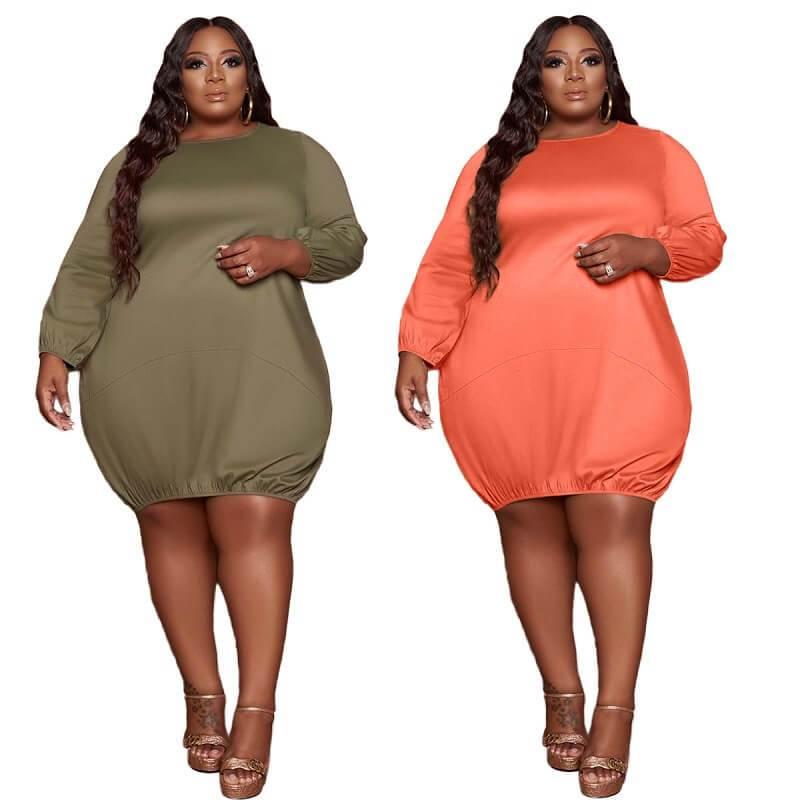 Plus Size Wrap Dress - two colors main picture