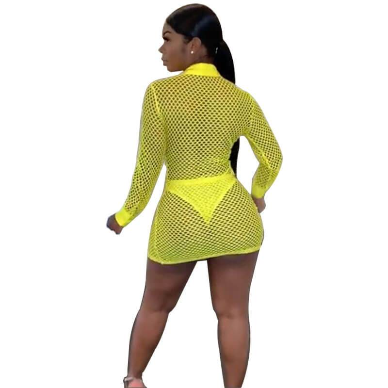 Large-size Knitted Mesh Bag Hip Dress - yellow back