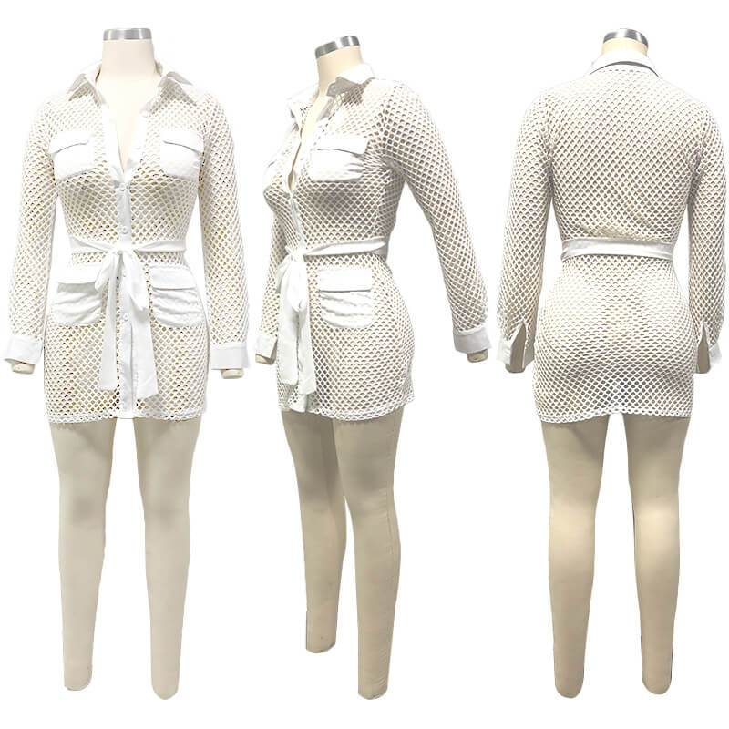 Large-size Knitted Mesh Bag Hip Dress - white model picture