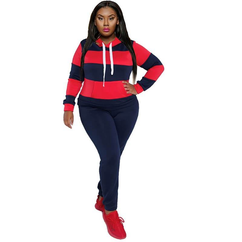 Plus Size Solid Color Two-piece Set - red and blue color