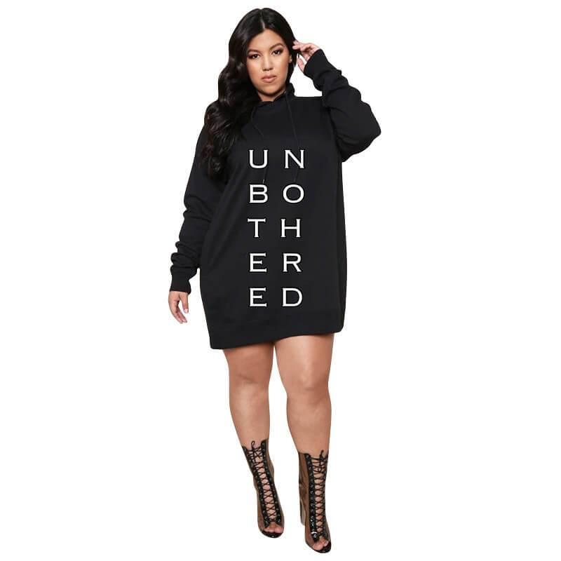 Large Letter Print Dress - black  color